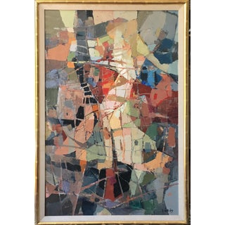 1970s Vintage Stefan Lokos Abstract Painting For Sale