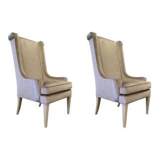 Modern Caracole Purrr-Fect Champagne Cut Velvet Lounge Chairs Pair For Sale