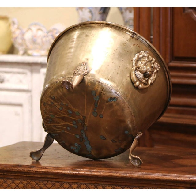 Brass 19th Century French Brass Cache-Pot Planter With Lion Head Handles For Sale - Image 8 of 9