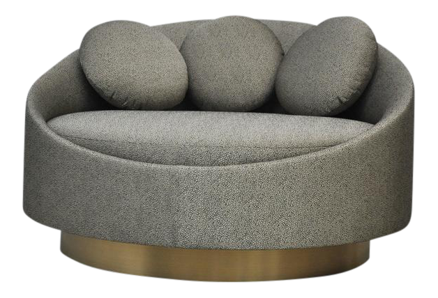 Good Luxury Large Brushed Brass Base Swivel Chair By Adrian Pearsall | DECASO