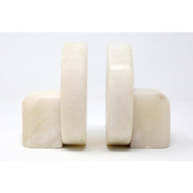 Mid-Century Modern Vintage Mid Century Round Marble Stone Bookends - a Pair For Sale - Image 3 of 7