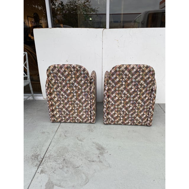Textile Pair of Vintage Lounge Chairs in Geometric Fabric. For Sale - Image 7 of 13