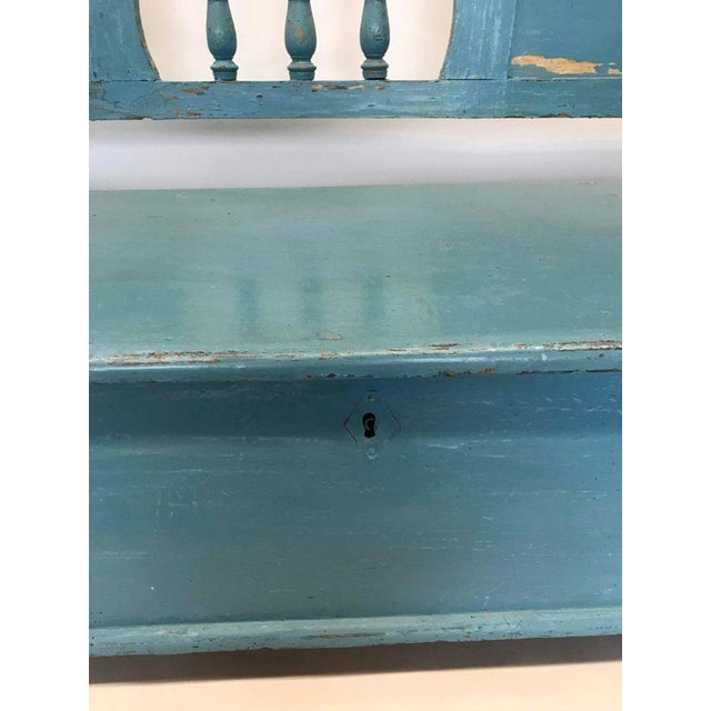 Gustavian (Swedish) Very Long Painted 19th Century Bench With Storage For Sale - Image 3 of 10