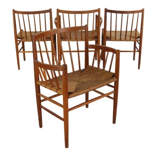 Dining Chairs by Jørgen Baekmark for FDB Møbler, Denmark, 1950s, Set of Four For Sale