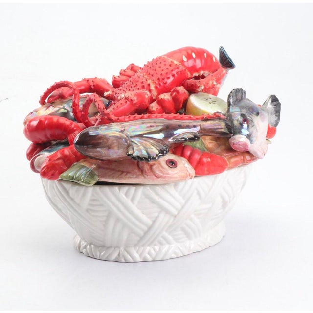 Mid-Century Modern Mid-Century Majolica Style Ceramic Lobster and Fish Covered Dish For Sale - Image 3 of 8