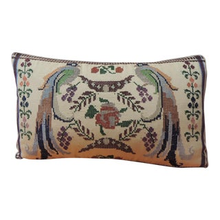 Vintage Petite Green and Red Woven Turkish Lumbar Decorative Pillow For Sale