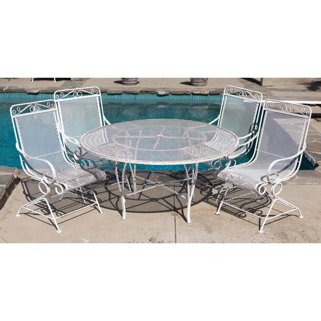 Vintage Patio Mesh Table & Bouncer Chairs - S/5 - Image 6 of 7