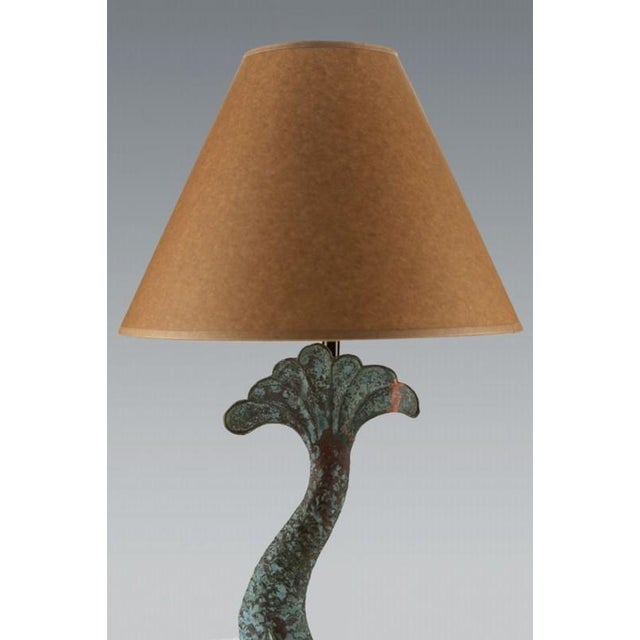 Modern Verdigris Copper Dolphin Waterspout, France c. 1895 Mounted as a Custom lamp For Sale - Image 3 of 6