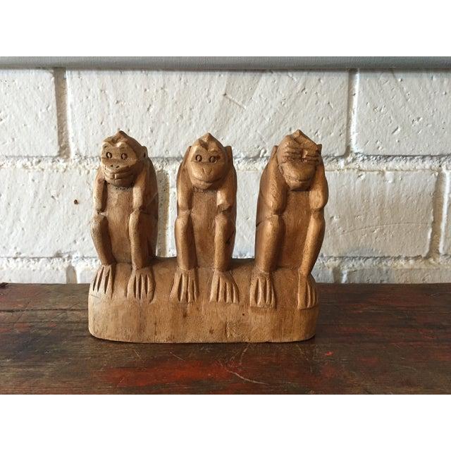No See, Hear, Speak Evil Monkeys Carving - Image 2 of 7