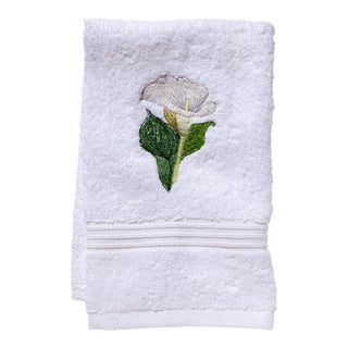 Calla Lily Guest Towel White Terry, Embroidered For Sale