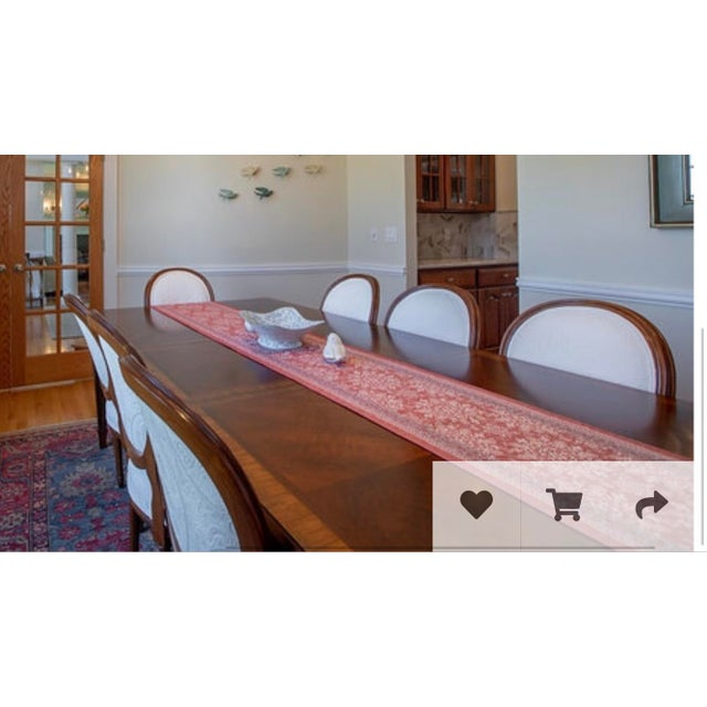Ballard Designs Ethan Allen Louis XIV Goodwin Dining Table With Ballard White Matelasse Chairs Set For Sale - Image 4 of 6