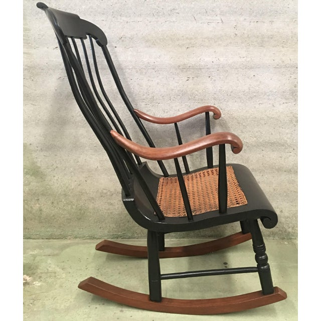 19th Hitchcock Rocking Chair With Woven Seat and Black Painted For Sale In Miami - Image 6 of 9