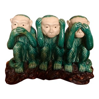 1970s Art Deco Green Wise Monkeys