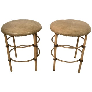 Pair of Stools Distressed Midcentury Stools For Sale