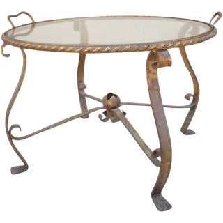 French Iron and Glass Accent Tray Table For Sale