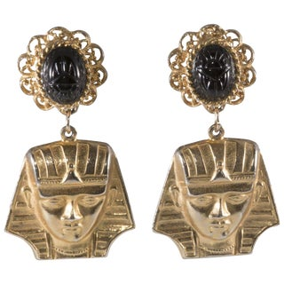 "Alexis Kirk Earrings Vintage Egyptian Revival 3"" King Tut Black Glass Scarab Dangle For Sale"