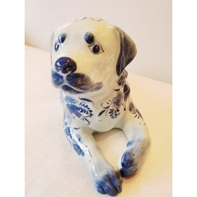 Blue and White Porcelain Dog Sculpture For Sale - Image 4 of 7