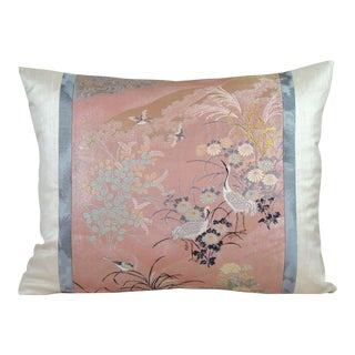 Cranes in Streamside Scenery Japanese Silk Obi Pillow Cover For Sale