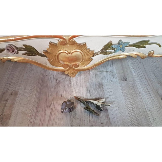 19th Century Italian Baroque Style Carved Lacquered Golden Wood Floor Mirror For Sale - Image 10 of 12