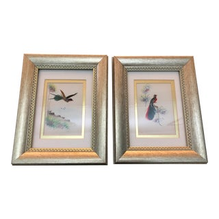 Late 20th Century Framed Chinoiserie Style Bird Painting- a Pair For Sale