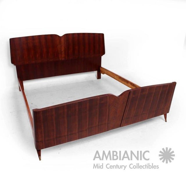 For your consideration a beautiful mid-century modern Italian bed frame. Sculptural wood frame frame with sapele and...