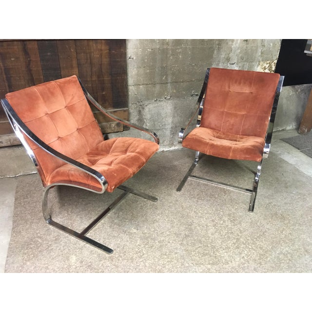 Bert England Brueton Steel Frame Cantilevered Lounge Chairs- a Pair For Sale - Image 10 of 11
