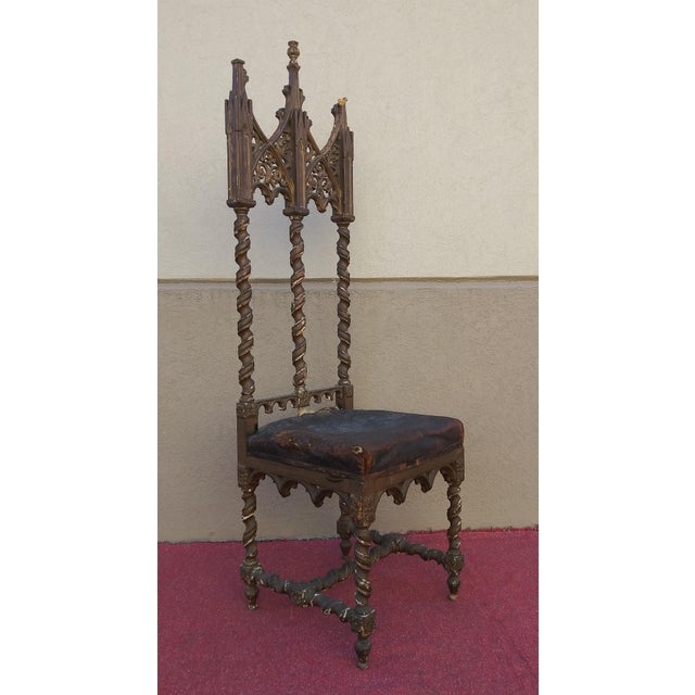 Period Renaissance 16th Century Gothic High Back Chair For Sale - Image 12 of 12