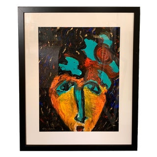 Abstract Acrylic Portrait Painting on Paper For Sale