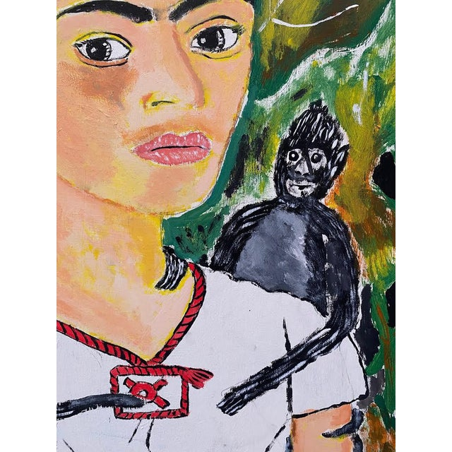 1970s 1970s Portrait Painting of Frida Kahlo with Monkeys Signed E. Colato, Framed For Sale - Image 5 of 7