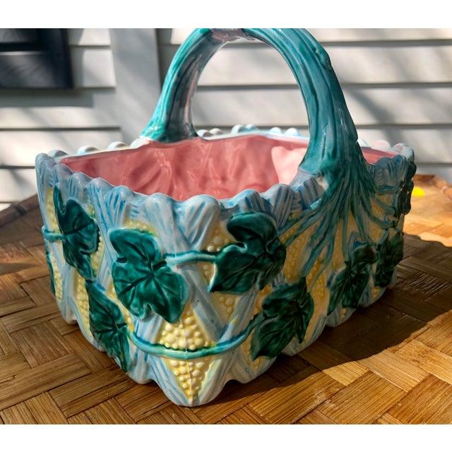 Vintage Faience Ceramic Ivy Basket For Sale - Image 4 of 11
