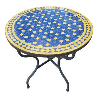 Blue / Yellow Moroccan Mosaic Table For Sale