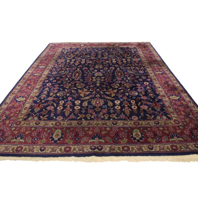 """Regency Early 20th Century Antique Indian Area Rug -8' X 10'1"""" For Sale - Image 3 of 6"""