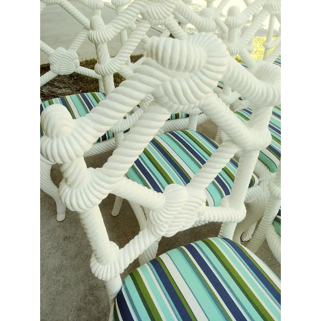 Blue Set of 10 Stunning Gloss White Rope Knot Nautical Coastal Twisted Dining Room Chairs W/Blue Striped Fabric For Sale - Image 8 of 11