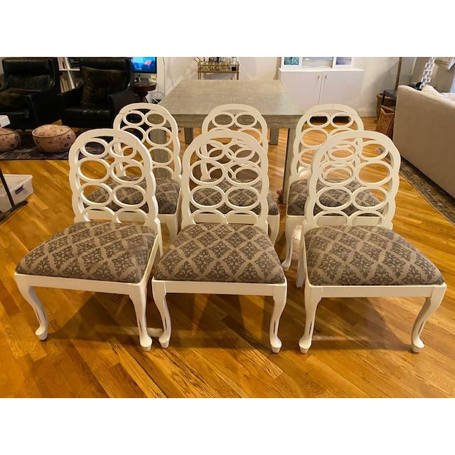 White Modern Loop Dining Chairs- Set of 6 For Sale - Image 8 of 8