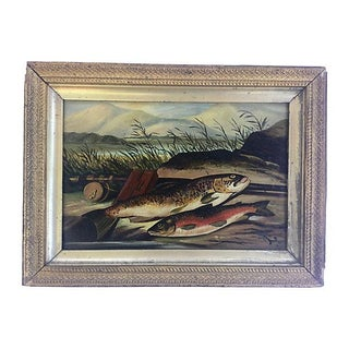 Antique 1886 English Fishing Scene Painting