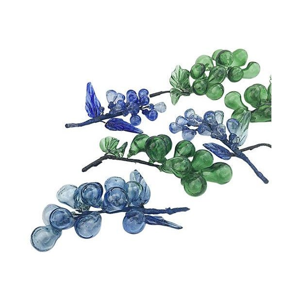 Blue & Green Blown Glass Grapes - Set of 9 - Image 2 of 6