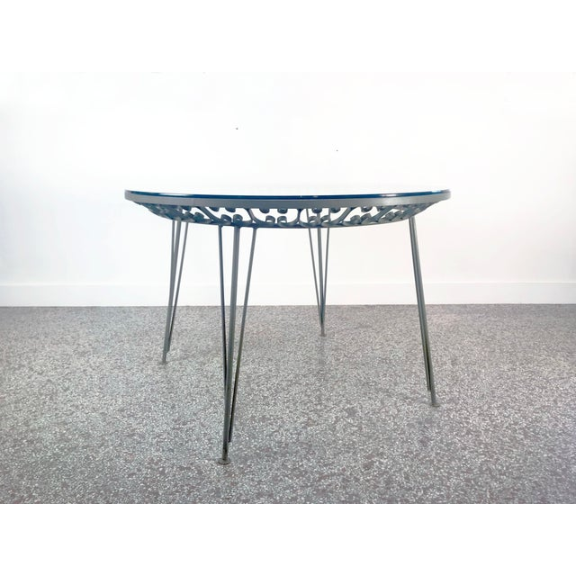 Olive 1960s Mid-Century Modern Arthur Umanoff Grenada Wrought Iron Outdoor Dining Table For Sale - Image 8 of 13
