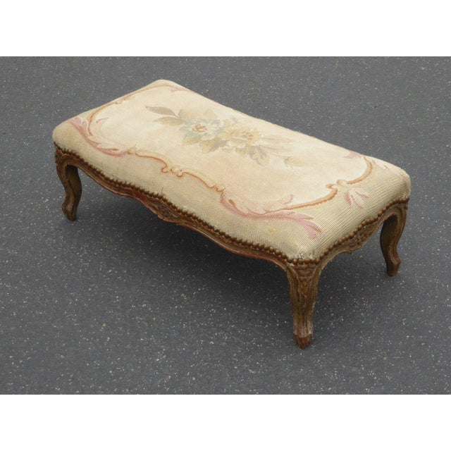 Louis XV 1960s Antique Carved Wood Floral Tapestry Footstool For Sale - Image 3 of 13