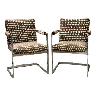 1960s Milo Baughman Mid Century Chrome and Fabric Chairs - a Pair For Sale