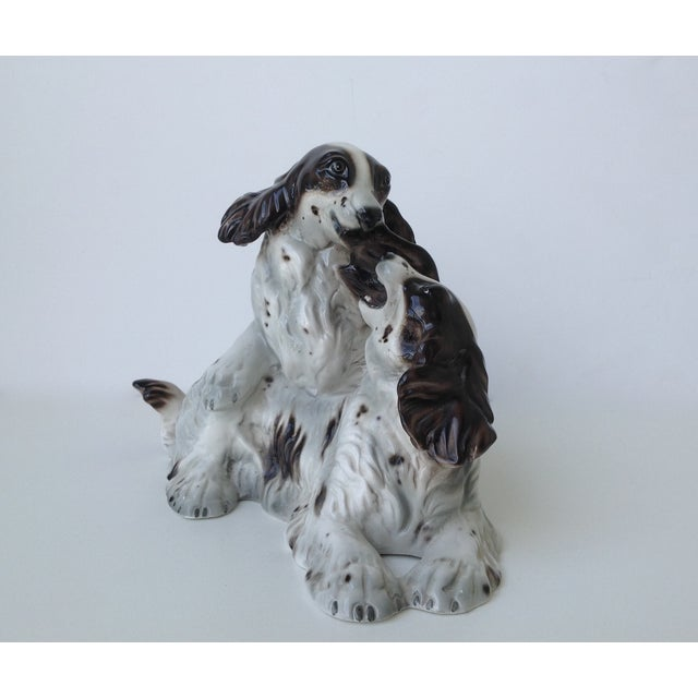 English Traditional Vintage Italian Porcelain Springer Spaniels For Sale - Image 3 of 11