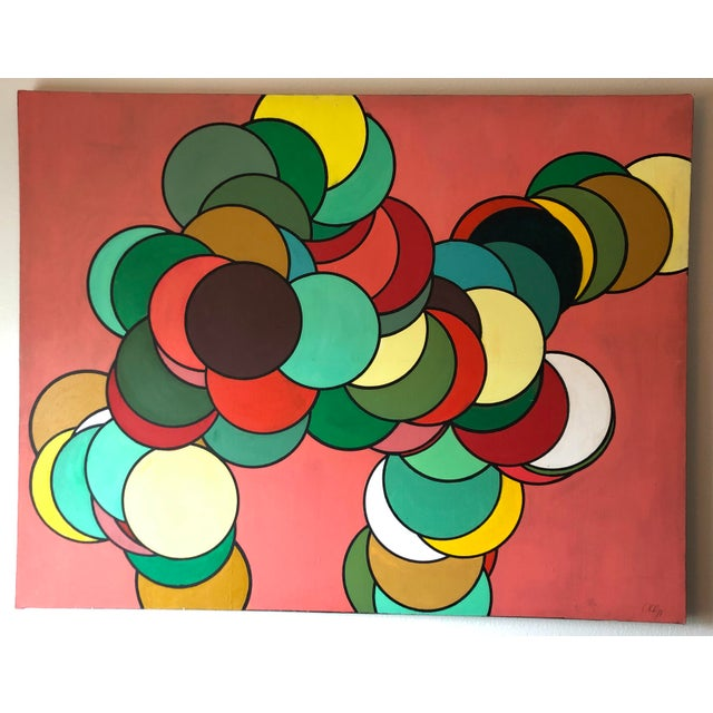 Green Mid Century Oversized Op Art Painting For Sale - Image 8 of 8
