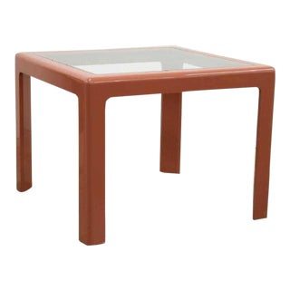 MCM Muted Pink Dining Table With Inset Glass Top For Sale