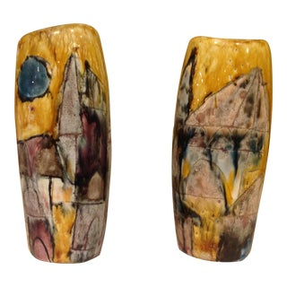 Pair of Abstract Ceramic Art Studio Vases in Vivid Colors For Sale