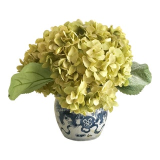 Chinoiserie Pot & Faux Hydrangeas