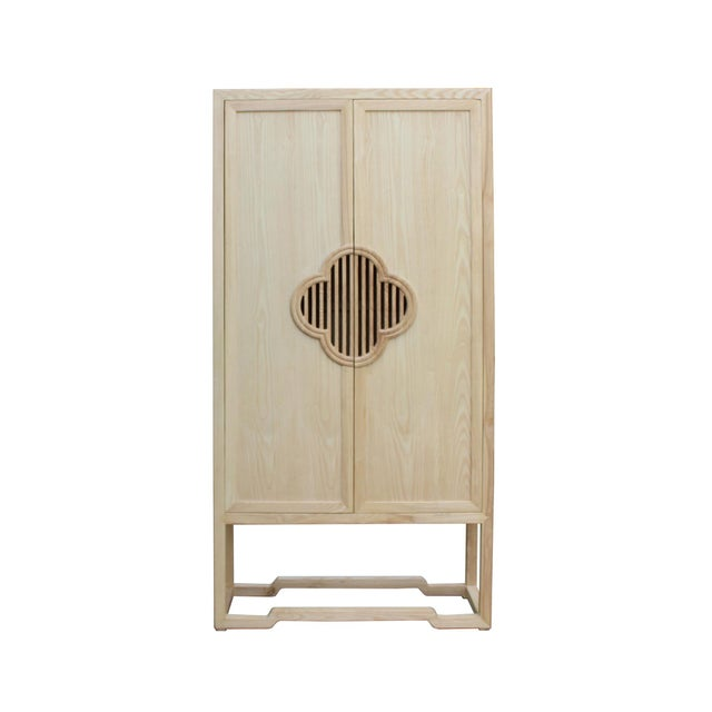Minimalist Light Raw Wood Shutter Doors Bookcase Display Dresser Cabinet For Sale - Image 9 of 9