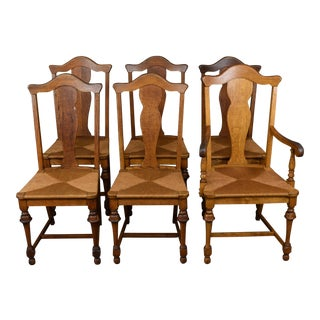 Vintage Tiger Oak Fiddle Back Chairs- Set of 6 For Sale