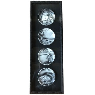 "1960s Piero Fornasetti ""Eva"" Framed and Inlayed Transfer Printed Ceramic Plates - Set of 4 For Sale"