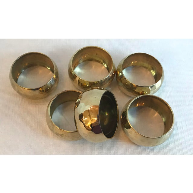 Vintage Brass Hammered Napkin Rings - Set of 6 For Sale In Dallas - Image 6 of 8