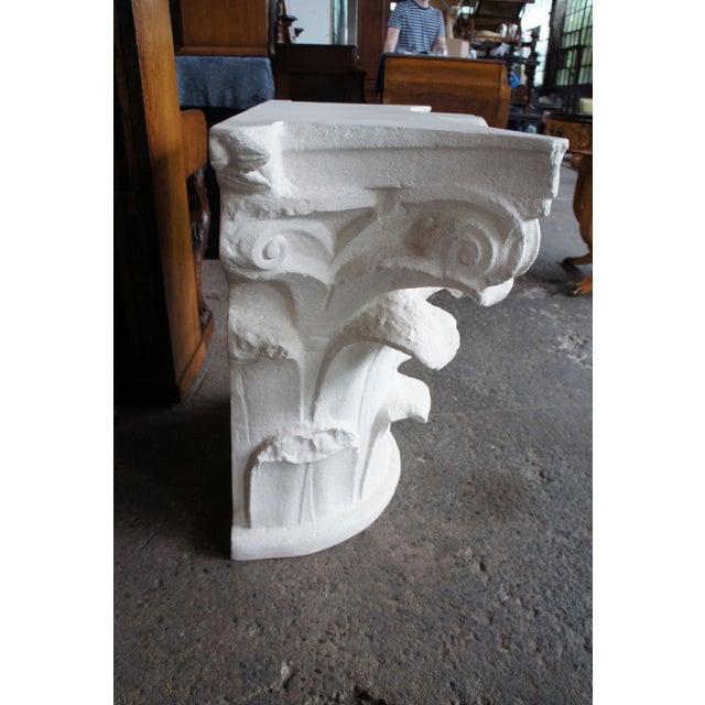 Spanish Michael Taylor Designs Faux Stone Console Table For Sale - Image 6 of 11