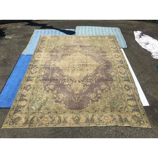 Large Antique Turkish Plum, Green, Beige Wool Rug - 9′5″ × 12′5″ For Sale - Image 13 of 13